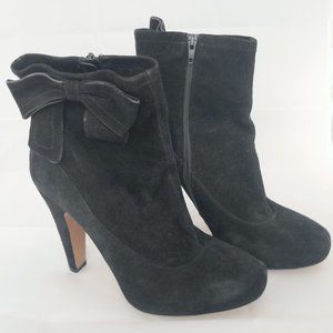 Coach black suede bootie with bow
